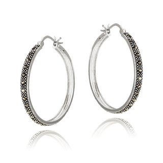 Glitzy Rocks Sterling Silver Marcasite Hoop Earrings