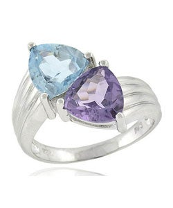 Glitzy Rocks Sterling Silver Amethyst and Blue Topaz Ring