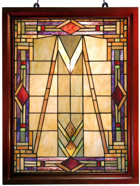 Tiffany-style Mission Glass Window Panel