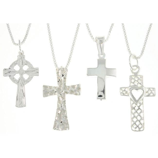 CGC Sterling Silver Diamond-cut Cross Necklaces (Set of 4)