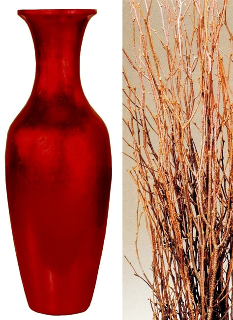 28-inch Red Lacquer Floor Vase and Birch Branches - 11061872 ...