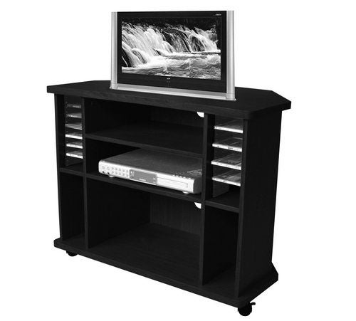 Black Finish Rolling Entertainment Center