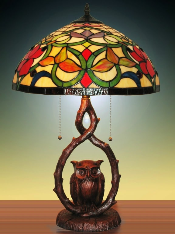 Tiffany Style Stained Glass Owl Table Lamp 11150580