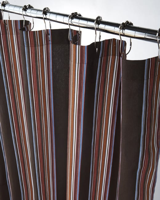 Extra Long Luggage Stripe Canvas Shower Curtain