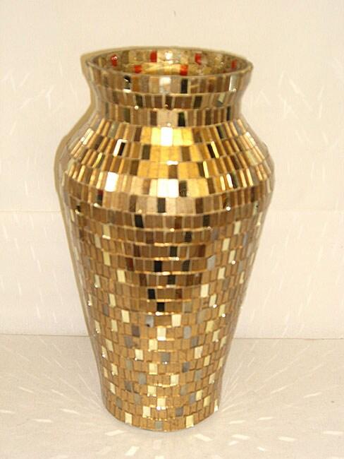 Round Gold And Mirror Mosaic Vase Set Of 6 11172278
