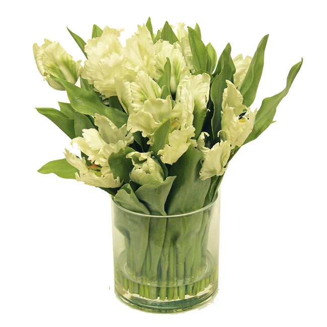 Faux Tulips In Glass Vase