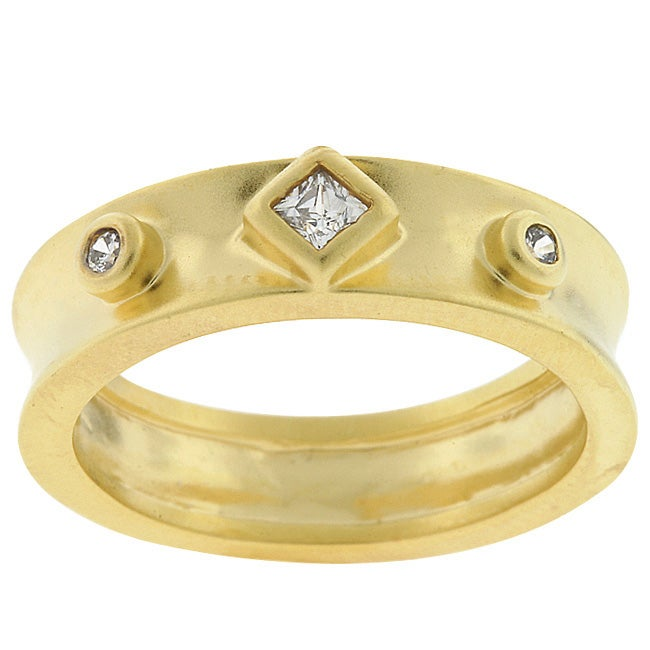Kate Bissett Goldtone Matted Clear Cubic Zirconia Ring