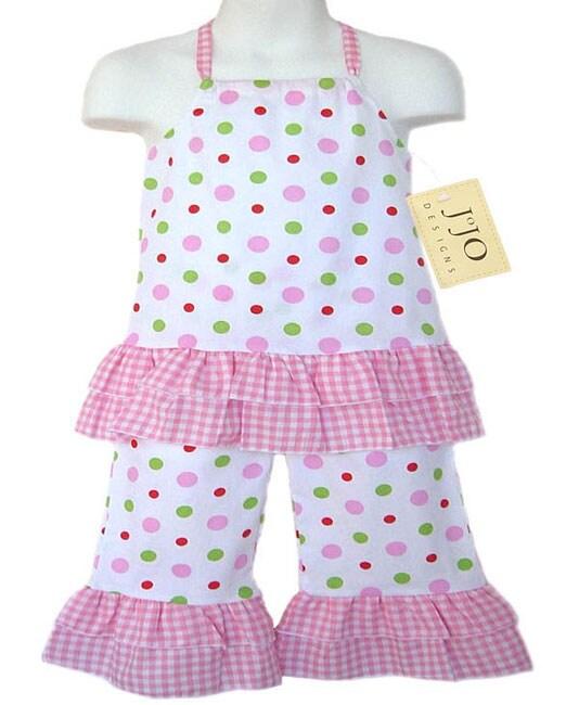 Sweet Jojo Designs Infants 2-piece Pink Dot Halter Outfit