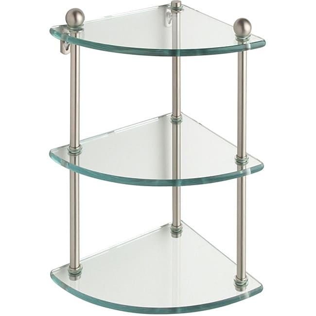 Triple-tier Tempered Glass Corner Bathroom Shelf
