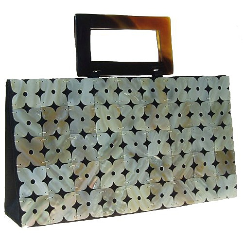 Mad By Design Mother of Pearl Flowered Scallop Bag