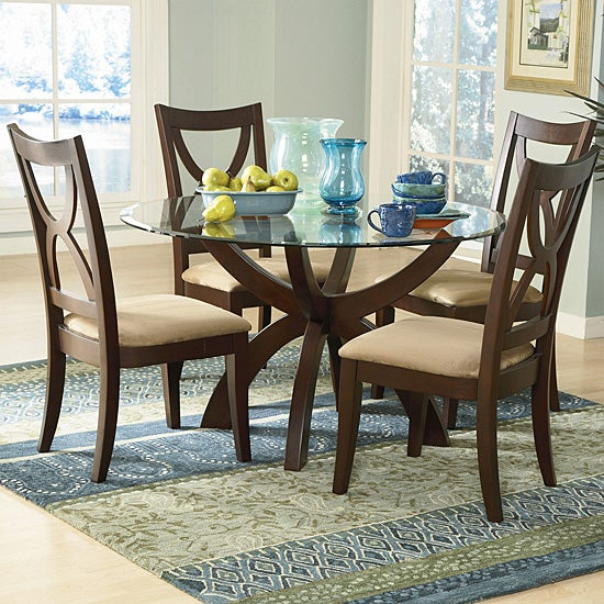 Avalon 5-piece Round Glass Dining Set - Overstock ...