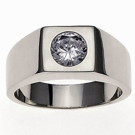 Simon Frank 14k White Gold Overlay Men's Super Solitaire Ring