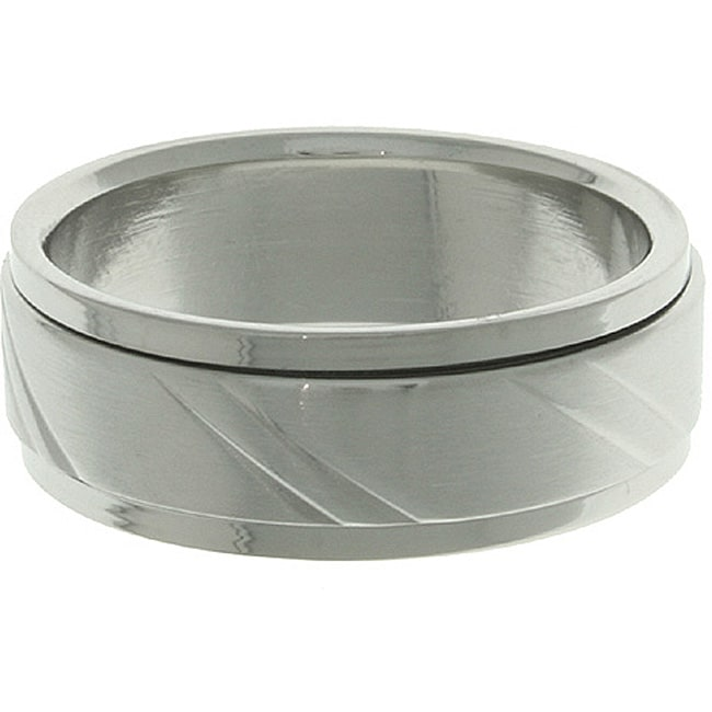 CGC Stainless Steel Diamond-cut Spinner Ring