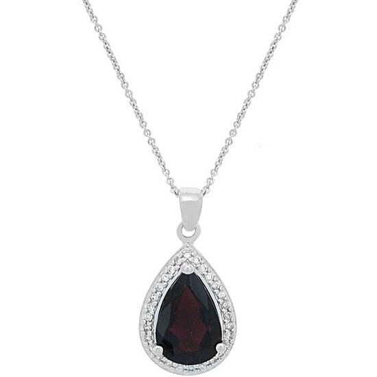 Glitzy Rocks Sterling Silver Garnet and CZ Teardrop Necklace