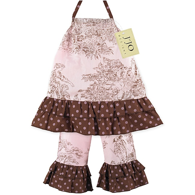 Sweet JoJo Designs Infant Girl's 2-piece Pink/ Brown French Toile Pants Set