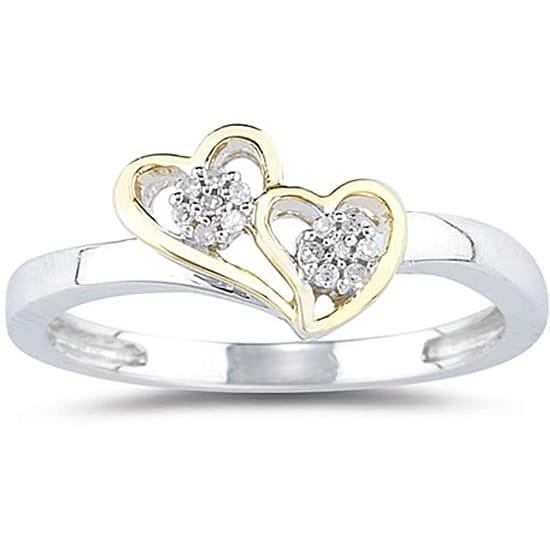 10k White Gold Diamond Double Heart Ring