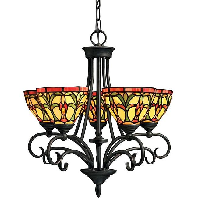 Tiffany-style 5-light Chandelier