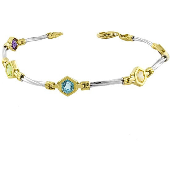 14k Gold Hexagon Semi-precious Stone Bracelet