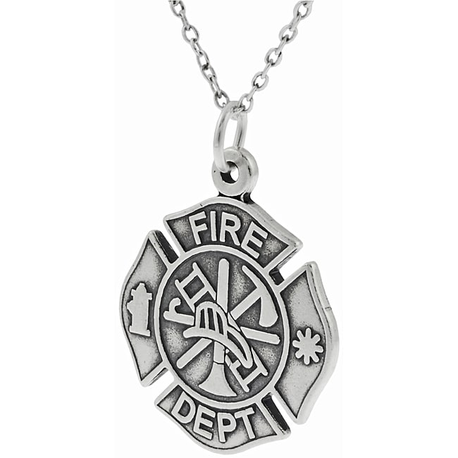 Journee Collection Sterling Silver Fire Dept Symbol Necklace