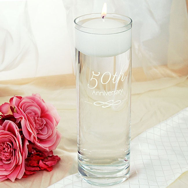 50th Wedding Anniversary Floating Candle Vase