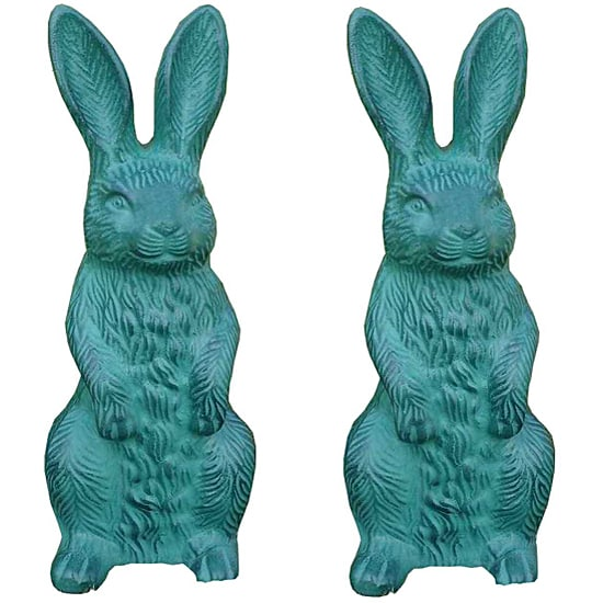 Cast Aluminum Garden Bunny Statues (Set of 2)