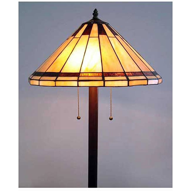 Tiffany style stained glass mission floor lamp overstock for Overstock tiffany floor lamp