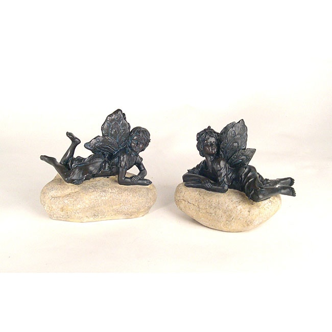 Fairies on Faux Rock Garden Statue (Set of 2)