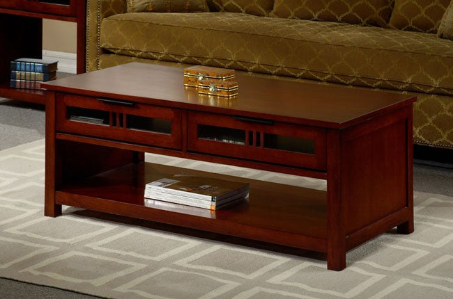Cherry Mission Style Coffee Table 11390586 Overstock