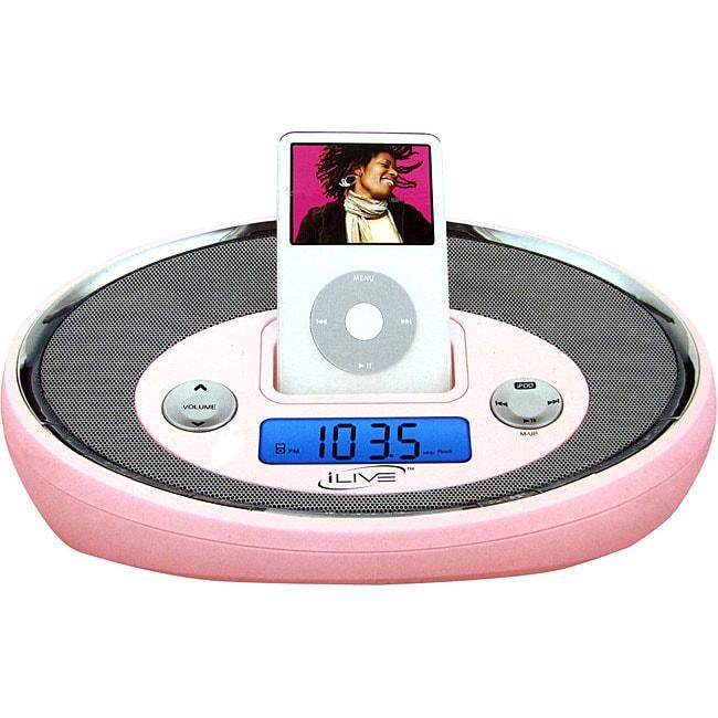 pink ipod digital alarm clock radio with remote refurbished 11393660. Black Bedroom Furniture Sets. Home Design Ideas