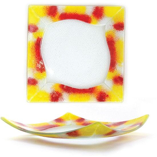 Fusion Warm Colored Square Plates (Case of 6)