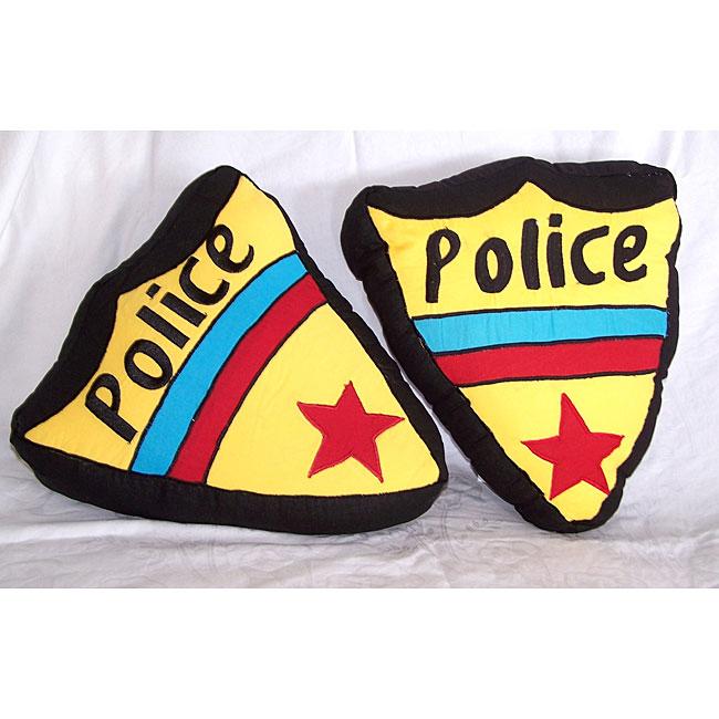 Police Shield Throw Pillows (Set of 2)