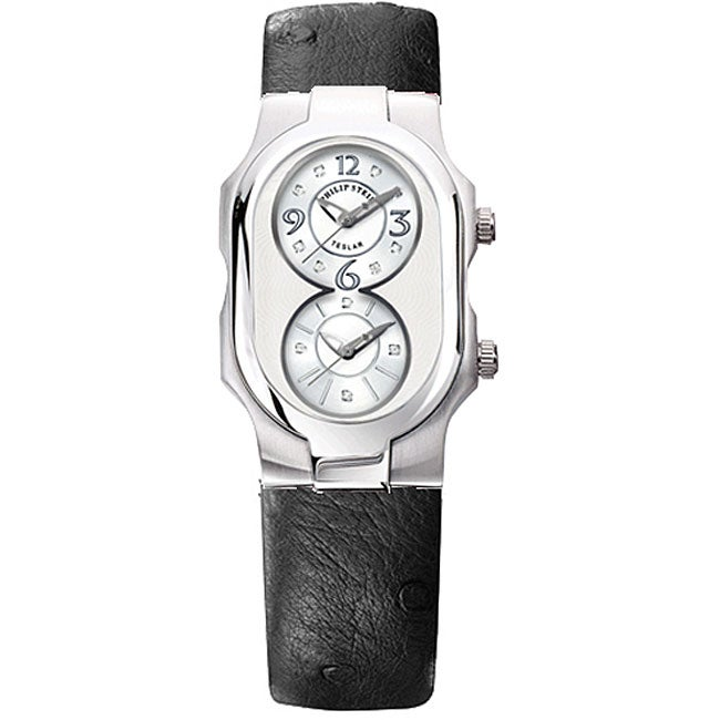 Philip Stein Teslar Diamond Ostrich Strap Watch
