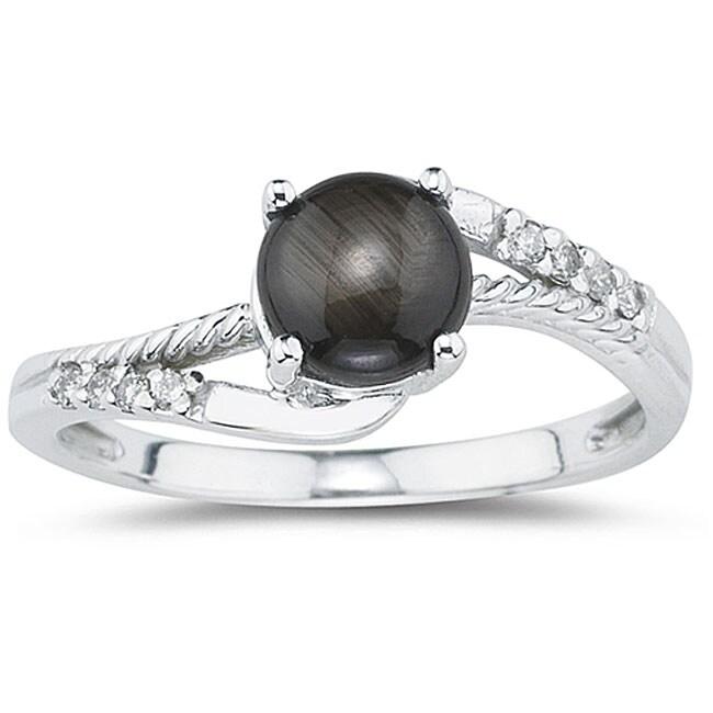 10k White Gold Black Star Sapphire and Diamond Ring