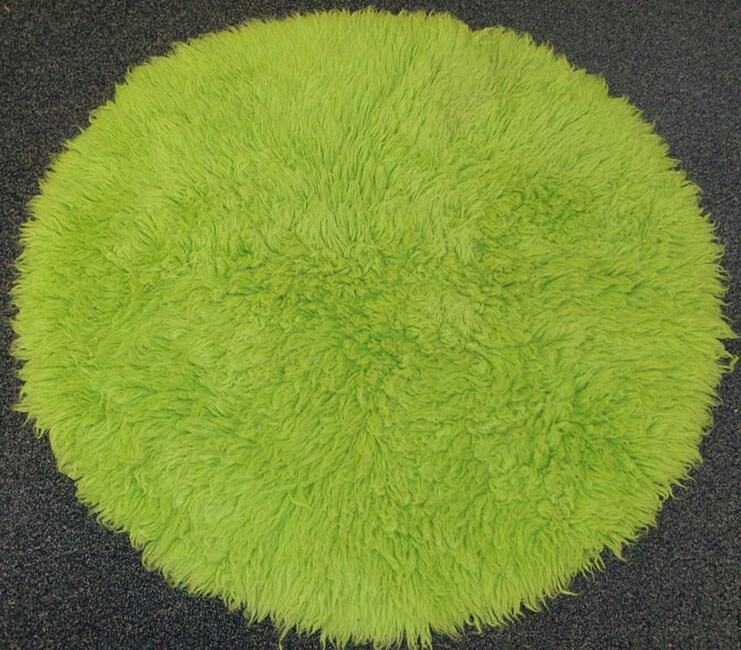 Premium Flokati Lime Green Rug (6' Round)