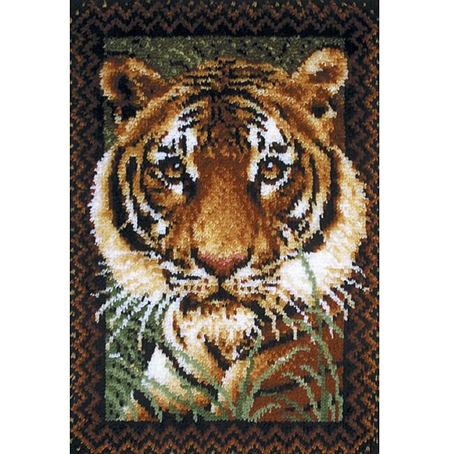 Wonderart Unframed Pre-cut Yarn Tiger Latch-hook Wall