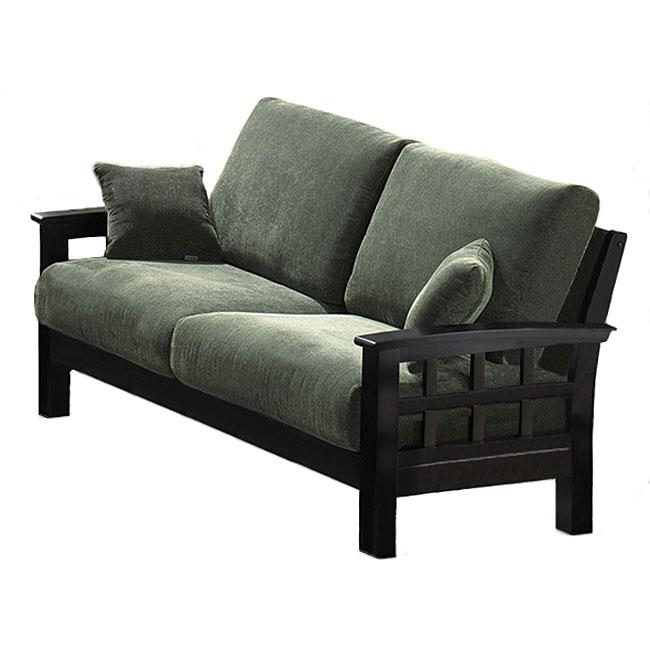 Arenth Chenille Green Black Two Cushion Sofa 11436088