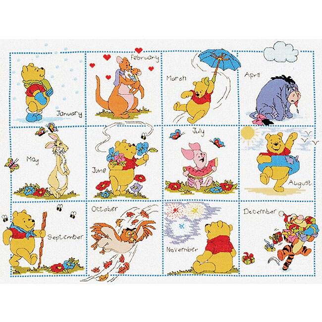 Pooh and Friends Calendar Cross Stitch Kit