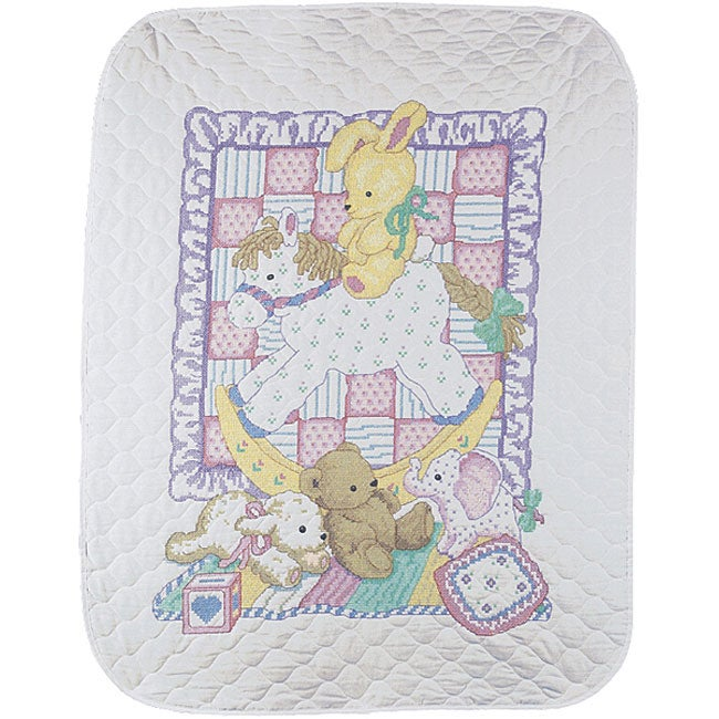 Rocking Horse Baby Stamped Cross Stitch Quilt Kit