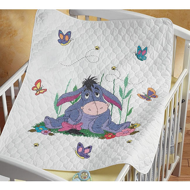 Eeyore and Butterflies Baby Quilt Stamped Cross Stitch Kit