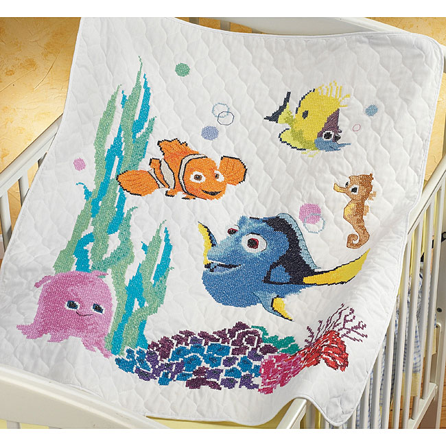 Nemo Baby Quilt Stamped Cross Stitch Kit
