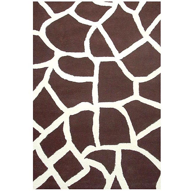 Hand-tufted Giraffe Wool Rug (8' x 10'6)