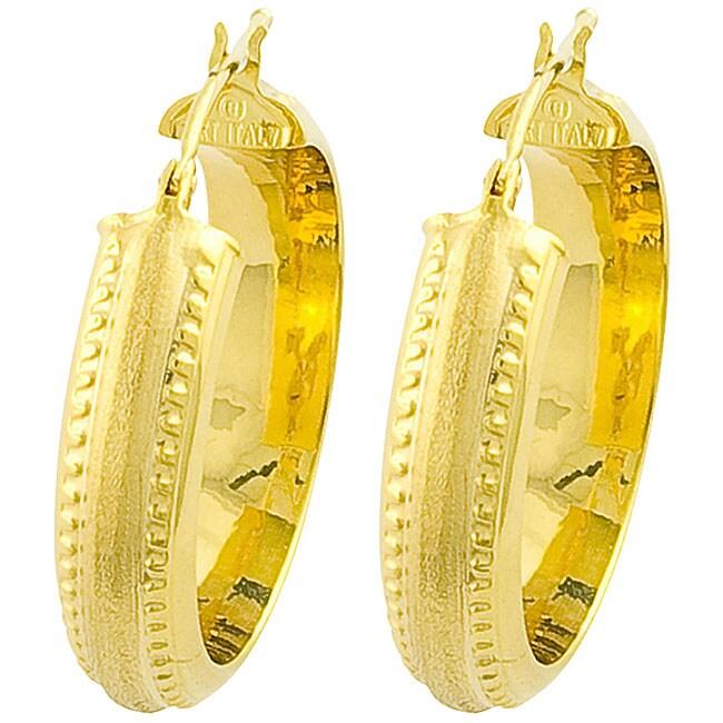 14k Yellow Gold Medium Tire Hoop Earrings
