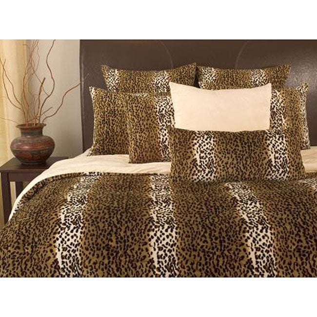 microplush cheetah print queen size 3 piece comforter set 11459833