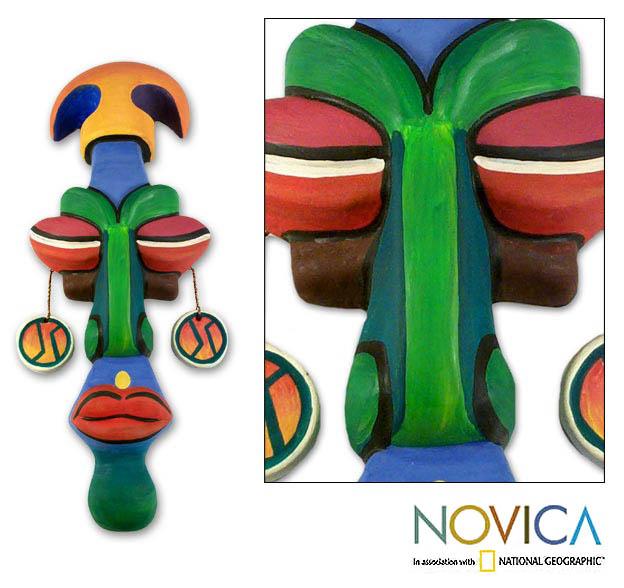 Ceramic 'Meditating Warrior' Mask (Peru)