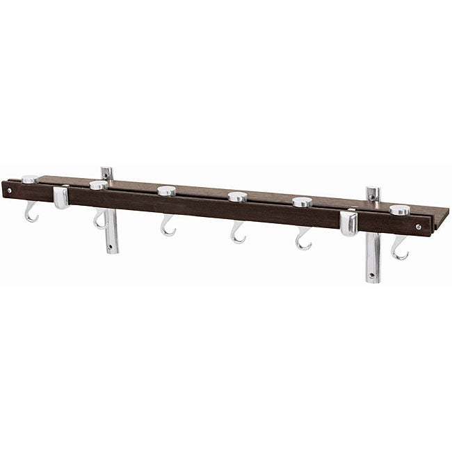 Dual-track Espresso 36-inch Kitchen Wall Rack