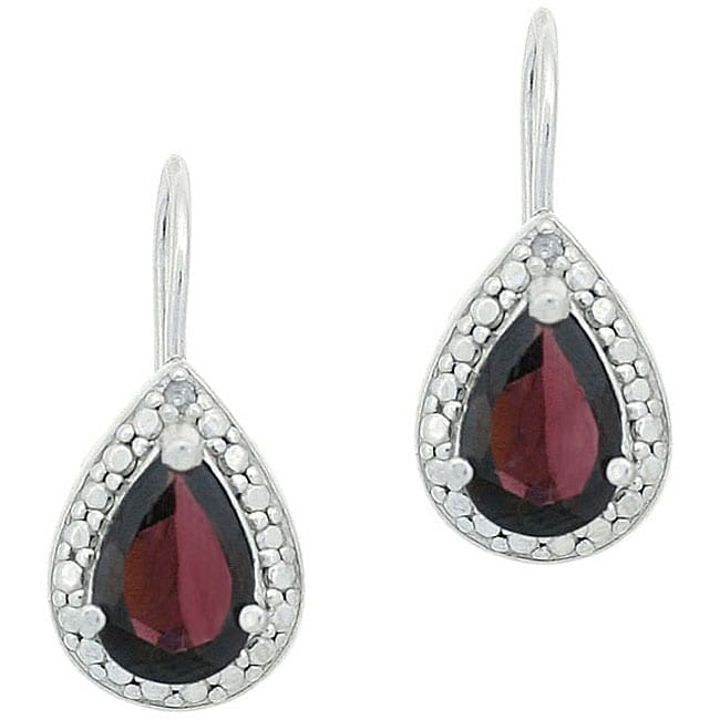 Glitzy Rocks Sterling Silver Garnet and Diamond Accent Earrings
