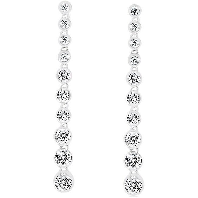 Sterling Silver Graduated Bezel Dangle Earrings