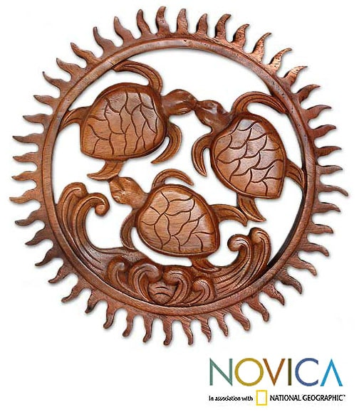 Wood 'Baby Turtles' Relief Panel (Indonesia)