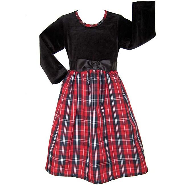 AnnLoren Girl's Black/ Red Plaid Holiday Dress