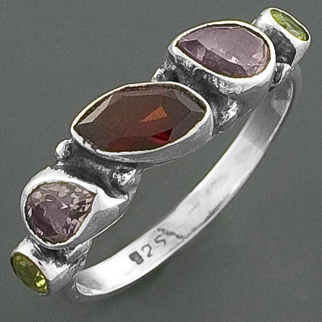 Multi-gemstone .925 Sterling Silver Ring (India)